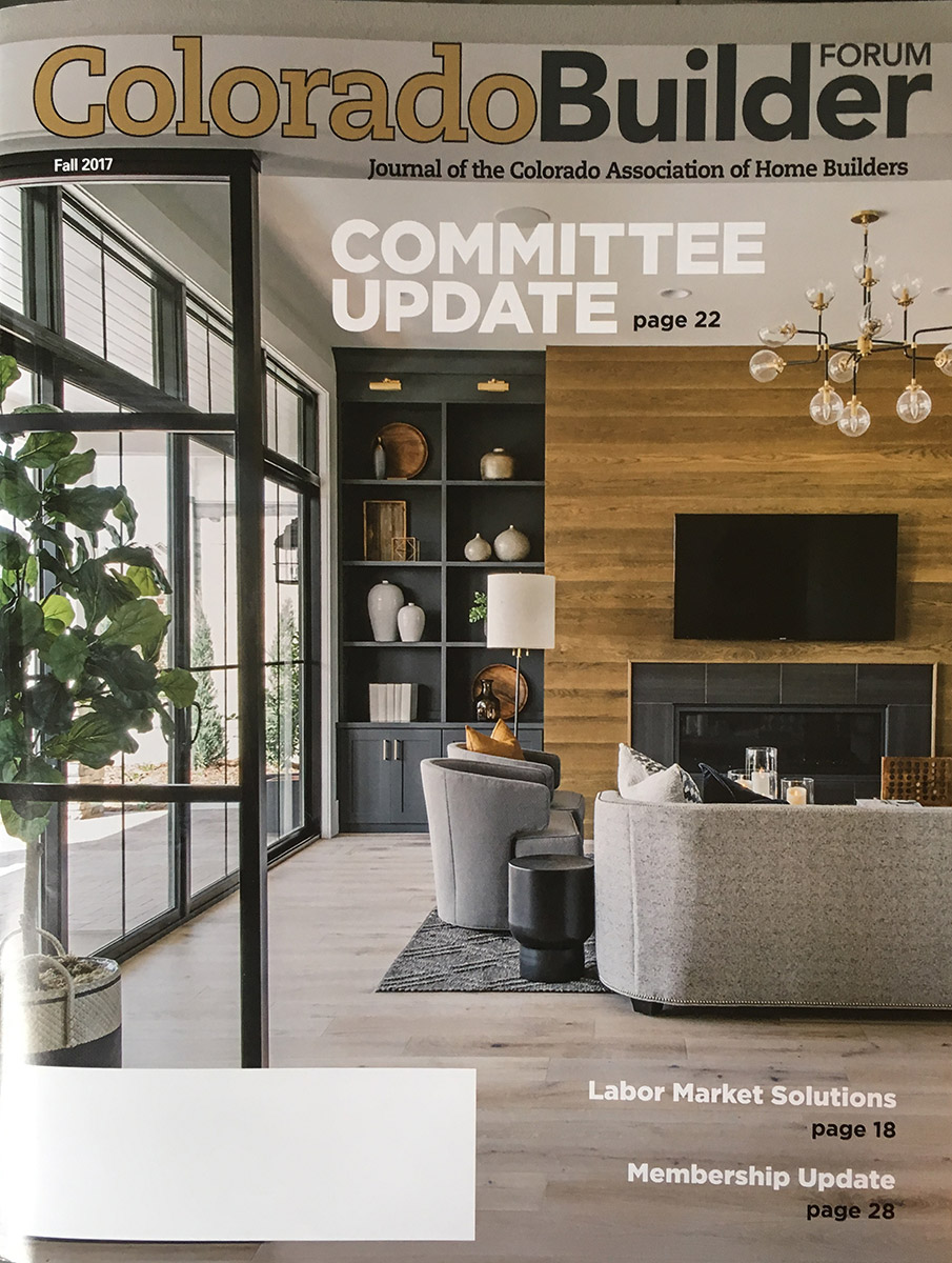 All about home design on cover of colorado builder forum for Home builder magazines